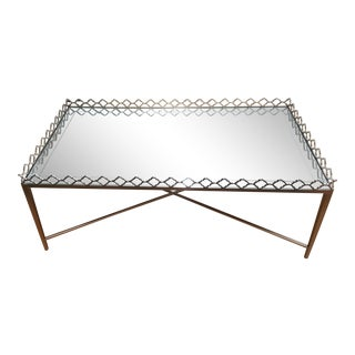 Bernhardt Metal Cocktail Table Mirrored Eglomise Glass Top For Sale