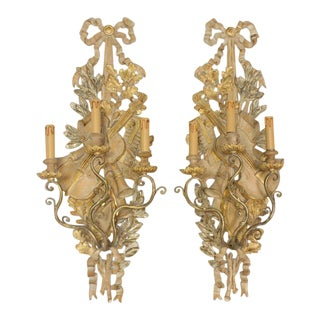 Italian Gilt Wood Musical Instrument Sconces - a Pair For Sale
