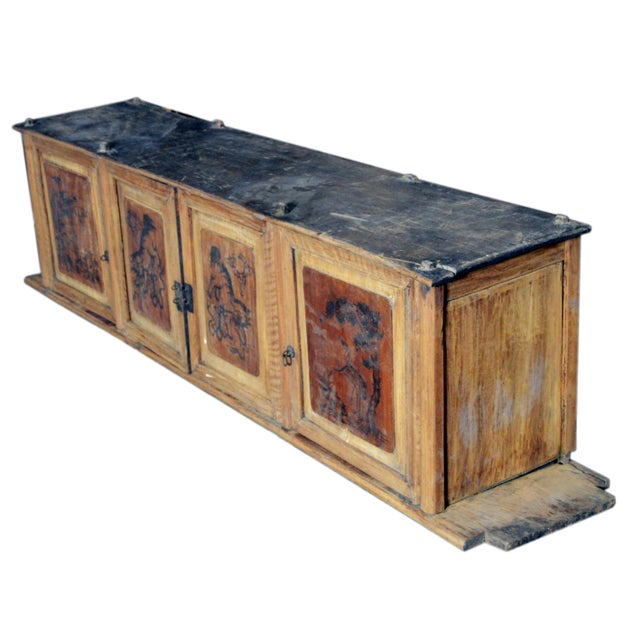 19th Century Chinese Four-Door Low Wooden Cabinet With Hand-Painted Scenes For Sale In New York - Image 6 of 9