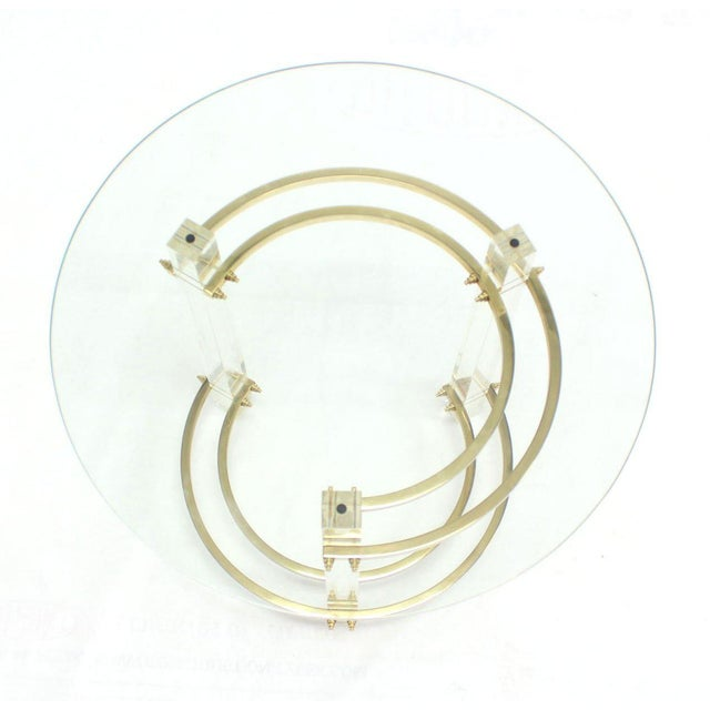 Mid-Century Modern Charles Hollis Jones Round Lucite and Brass Side Table For Sale - Image 3 of 8