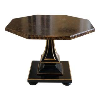 1970s Hollywood Regency John Widdicomb Faux Tortoiseshell Hexagonal Accent Table For Sale