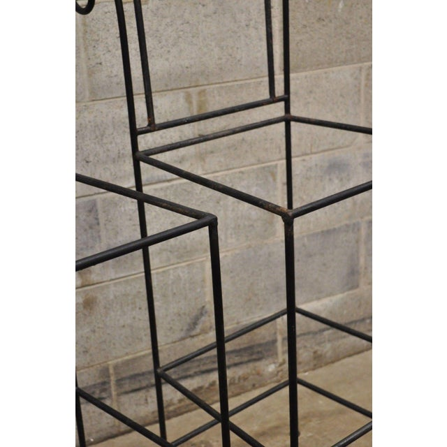 Wrought Iron Curule Frame Scroll Back Seat Bar Counter Stools - a Pair For Sale - Image 9 of 11
