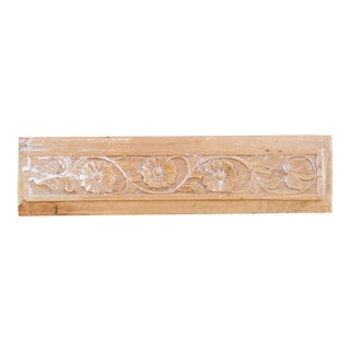 19th Century Gulbahar II Whitewash Carved Panel For Sale