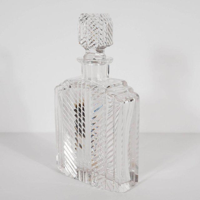 Art Deco Exquisite Skyscraper Style Crystal Art Deco Hand-Cut & Beveled Crystal Decanter For Sale - Image 3 of 11