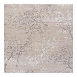Sample - Schumacher Mori Shimmer Wallpaper in Moonstone For Sale