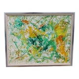 Image of 1970s Vintage Abstract Oil Painting For Sale