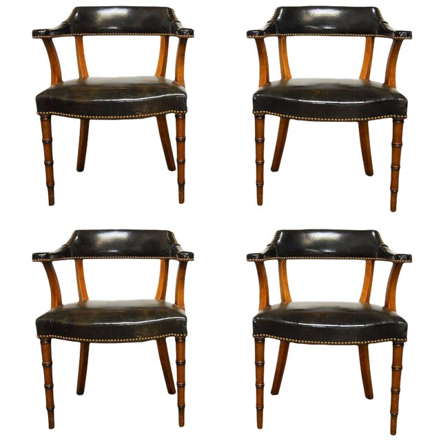Barnard & Simonds Leather Library Chairs - Set of 4 - Image 1 of 10