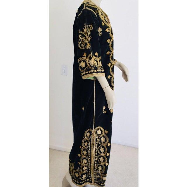 Vintage Caftan, Black Velvet and Gold Embroidered, 1960s For Sale - Image 4 of 13