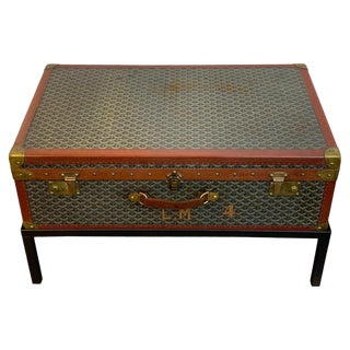 Vintage Goyard Hardcase Trunk on Iron Stand For Sale