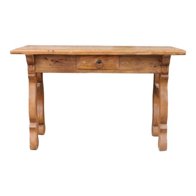 1950s Rustic Pine Console Table