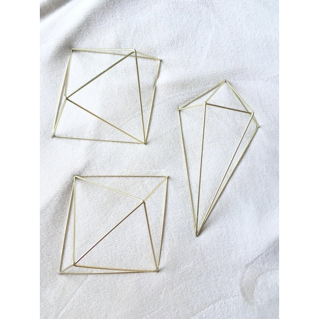 Metal Gold 3D Diamond Wall Hangings - Set of 3 - Image 2 of 6
