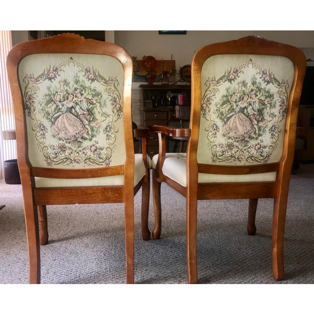 French Provincial Tapestry Salon Chairs - A Pair For Sale - Image 10 of 13