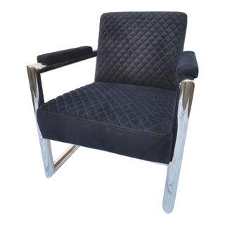 Black Velvet and Stainless Steel Armchair