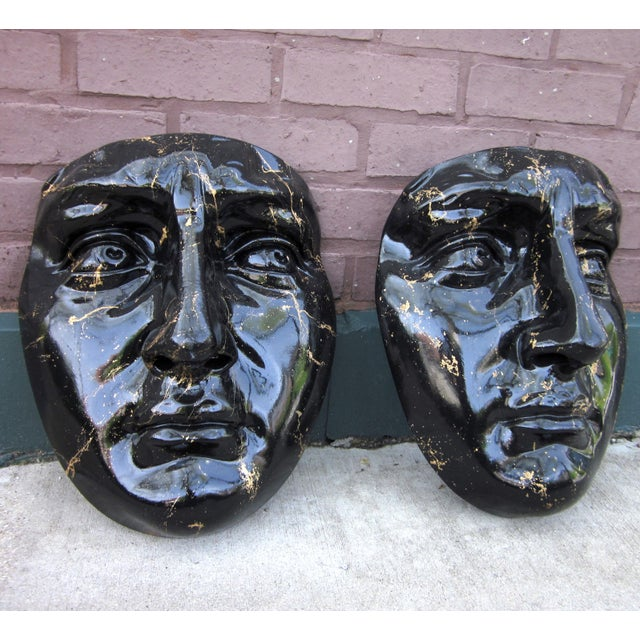 Late 20th Century Black and Gold Splatter Paint Plaster Face Mask Wall Sculptures - a Pair Fornasetti Style For Sale In Chicago - Image 6 of 11