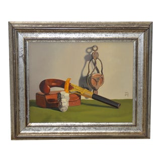 """John T Axton III """"The Pistol & the Pipe"""" Original Still Life Oil Painting For Sale"""