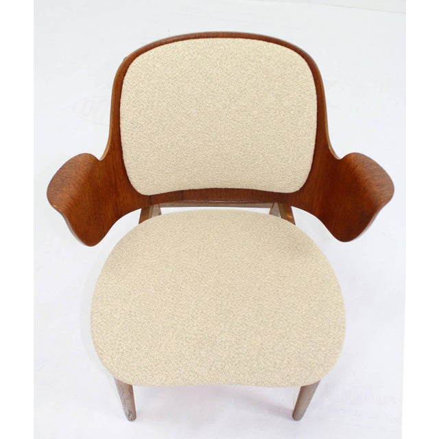Lacquer Mid-Century Modern Molded Plywood Barrel Back Armchair with New Upholstery For Sale - Image 7 of 10