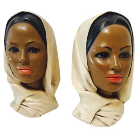 Marwal Arab Female Busts - A Pair - Image 1 of 5