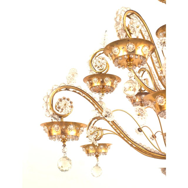 Empire French 1940s Brass Frame Crystal Chandelier by Baguès for Jansen For Sale - Image 3 of 5