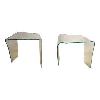 Laurel Fyfe (American, 1956-2011) Modernist Slupmed Glass End Tables, 1980s - a Pair For Sale