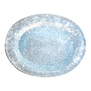 Laughlin Style Baby Blue Splatter Chop Plate Oval Platter Tray For Sale