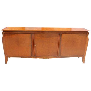 French Art Deco Flame Mahogany Sideboard /Buffet By Jules Leleu Circa 1940s,