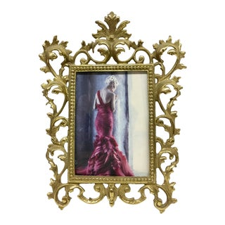 Heavy Carved Brass Victorian Photo Frame