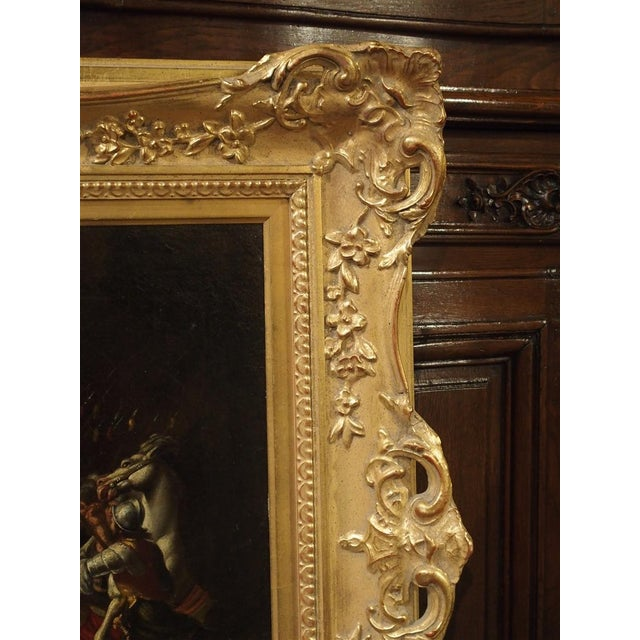 Gold 18th Century Italian Oil Painting on Canvas in Giltwood Frame For Sale - Image 8 of 11