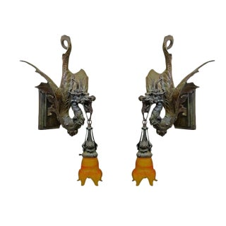 Cast Bronze Medieval Gothic Dragon Sconce, Pair For Sale