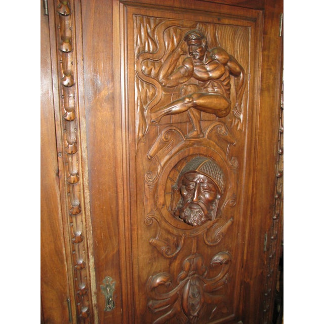 Antique Hand-Carved Italian Revival Armoire - Image 4 of 10