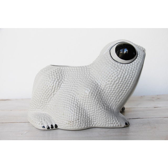 1970s Large Vintage Hobnail Frog Planter in the Style of Jean Roger For Sale - Image 4 of 13