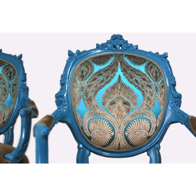 Antique French Blue Peacock Chairs - a Pair - Image 4 of 4