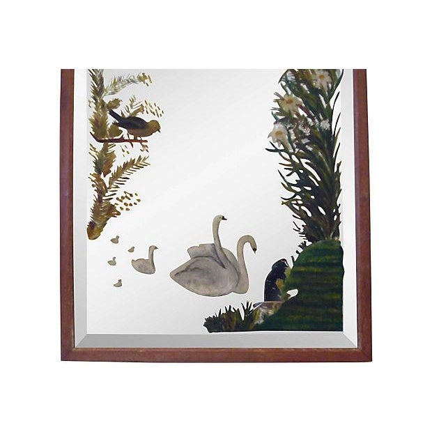 Victorian Painted Mirror with Swans - Image 2 of 3