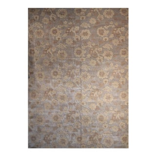 Floral Hand Knotted Yarn Rug - 10′ × 14′ For Sale