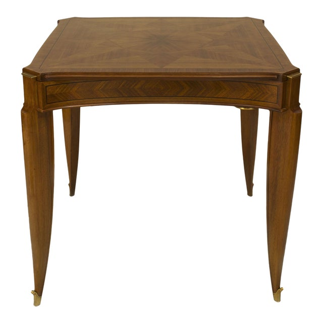 1940s French Art Deco Light Mahogany Square Game Table For Sale