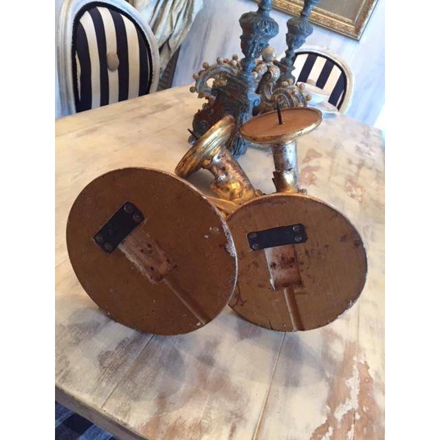 Italian Antique Italian 19th Century Gilt Wood Wall Sconces- a Pair For Sale - Image 3 of 8