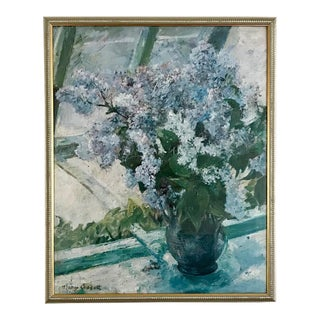 """""""Lilacs in the Window"""" by Mary Cassatt, Framed Reproduction For Sale"""