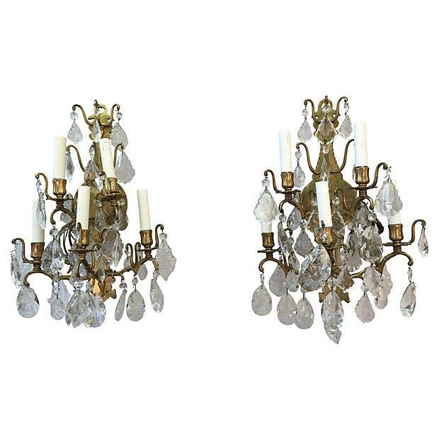 1940s Italian Crystal & Glass Sconces - A Pair For Sale - Image 4 of 8