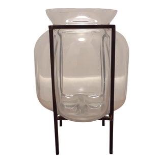 Mid-Century Modern Glass & Iron Vase