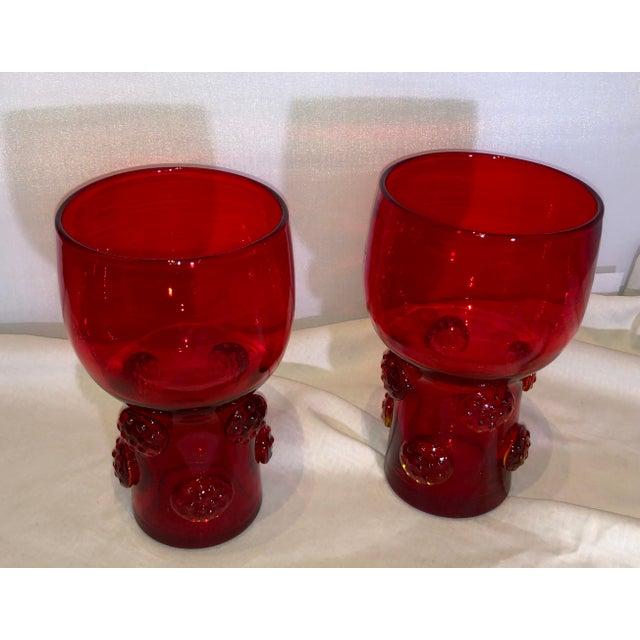 Blenko Red Tangerine Tumblers Glass With Rosettes Punt / Set of 2 Blenko Set of 2 tumblers 3753-HB catalog number 16 oz...
