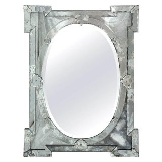 1940's Hollywood Regency Venetian Mirror With Exquisite Shield Design For Sale
