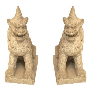 Early 20th Century Asian Granite Foo Dog Figures-a Pair For Sale