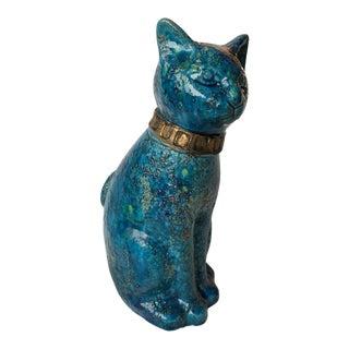 Mid Century Modern Bitossi Rimini Pottery Fat Lava Cat Sculpture by Aldo Londi For Sale