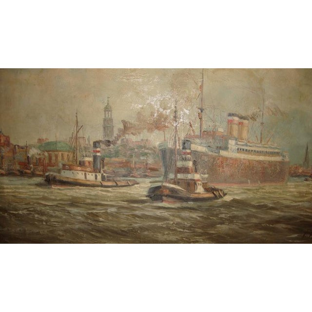 19th C. Oil Painting of Boats in a Harbor - Image 2 of 6