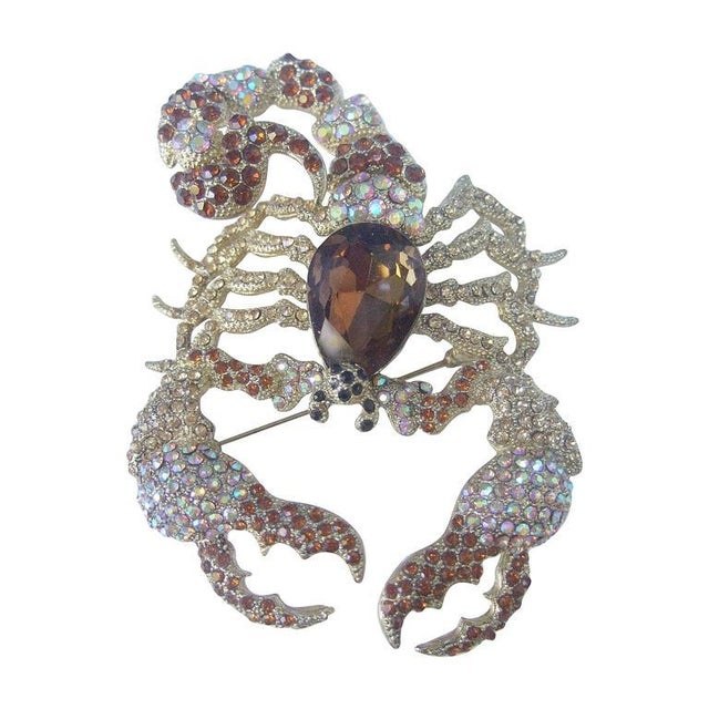 Massive Glittering Crystal Scorpion Brooch For Sale - Image 6 of 6