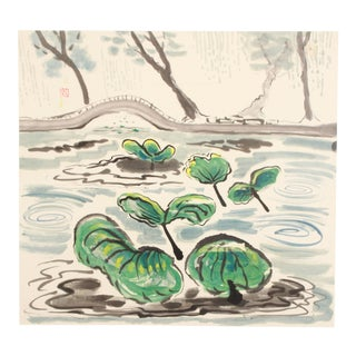 Modernist Watercolor Painting Depicting Lilypads in China by Doris M. Carter For Sale