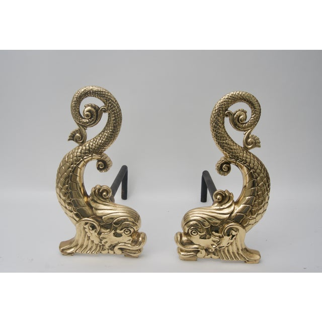 Bradley & Hubbard Brass Dolphin-Form Andirons - a Pair For Sale In West Palm - Image 6 of 6