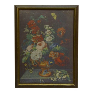 "Martin Fromhold Framed Original ""Flowers"" Print on Board"