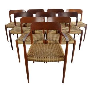 1960s Vintage Niels Møller #75 Teak Dining Chairs- Set of 10 For Sale