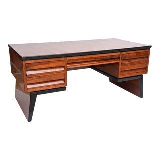 Fine Italian Modern Walnut Executive Desk, Borsani For Sale
