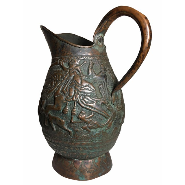 Persian 19th Century Persian Qajar Dynasty Copper Pitcher/Jug For Sale - Image 3 of 13